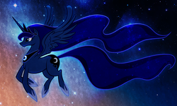 Size: 1423x852 | Tagged: dead source, safe, artist:sir-dangereaux, princess luna, alicorn, pony, female, flying, mare, photoshop, profile, solo, space, stars