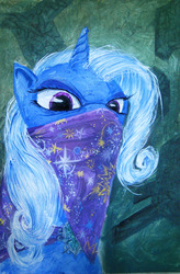Size: 794x1212 | Tagged: safe, artist:quiet-victories, trixie, pony, unicorn, angry, bandana, female, glare, looking at you, mare, photoshop, solo, traditional art