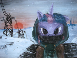 Size: 2592x1944 | Tagged: safe, artist:quiet-victories, twilight sparkle, pony, unicorn, clothes, female, hoodie, looking at you, mare, photoshop, power line, scarf, snow, snowfall, solo, sunset, traditional art, unicorn twilight, winter