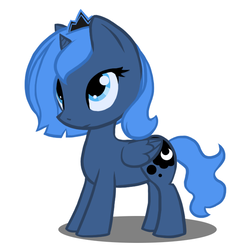 Size: 669x669 | Tagged: safe, artist:atticus83, princess luna, alicorn, pony, cute, female, filly, foal, looking up, photoshop, simple background, smiling, solo, white background, woona
