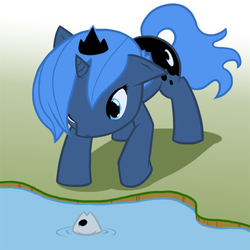 Size: 500x500 | Tagged: safe, artist:atticus83, princess luna, alicorn, fish, pony, cute, female, filly, foal, photoshop, solo, water, woona
