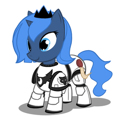 Size: 500x500 | Tagged: safe, artist:atticus83, princess luna, pony, armor, crossover, cute, female, filly, foal, horus heresy, implied horus heresy, luna wolves, lunabetes, photoshop, ponyarch, power armor, powered exoskeleton, primarch, purity seal, simple background, solo, this will end in heresy, this will end in tears, this will end in tears and/or death, warhammer (game), warhammer 30k, warhammer 40k, woona, woona wolves