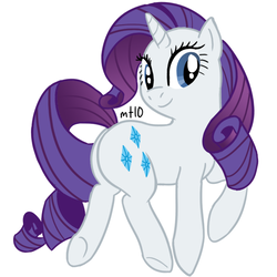 Size: 600x600 | Tagged: artist:empty-10, female, looking back, mare, plot, pony, rarity, safe, simple background, smiling, solo, unicorn, white background