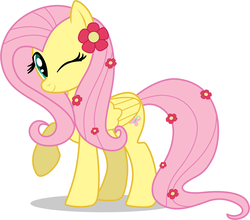 Size: 900x792 | Tagged: dead source, safe, artist:volmise, fluttershy, pegasus, pony, cute, female, flower, flower in hair, mare, photoshop, raised hoof, shyabetes, simple background, solo, white background, wink