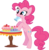 Size: 1571x1594 | Tagged: adobe imageready, artist:volmise, bipedal, bipedal leaning, cake, cupcake, dead source, earth pony, female, food, leaning, mare, mouth hold, photoshop, pinkie pie, pony, safe, simple background, solo, sprinkles, transparent background