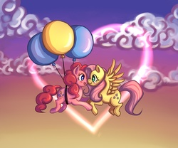 Size: 1500x1250 | Tagged: dead source, safe, artist:ninjaham, fluttershy, pinkie pie, earth pony, pegasus, pony, acdsee, balloon, blushing, cloud, crying, cute, diapinkes, eye contact, female, floating, flutterpie, flying, happy, heart, lesbian, looking at each other, mare, shipping, shyabetes, tears of joy, then watch her balloons lift her up to the sky