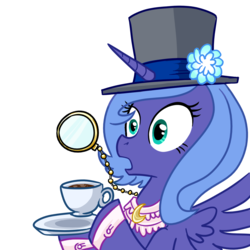 Size: 1000x1000 | Tagged: safe, artist:madmax, princess luna, alicorn, pony, bust, classy, female, gasp, hat, horn, like a sir, mare, monocle, open mouth, portrait, reaction image, s1 luna, simple background, solo, tea, top hat, transparent background, wings