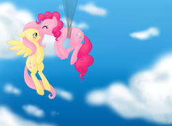 Size: 1260x920 | Tagged: safe, artist:sorckylo, fluttershy, pinkie pie, earth pony, pegasus, pony, balloon, cloud, female, floating, flutterpie, flying, lesbian, mare, shipping, sky, then watch her balloons lift her up to the sky