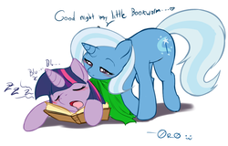 Size: 836x536 | Tagged: safe, artist:0r0ch1, trixie, twilight sparkle, pony, unicorn, blanket, blushing, book, bookworm, colored pupils, cute, daaaaaaaaaaaw, diabetes, dialogue, diatrixes, discussion in the comments, drool, eyes closed, featured image, female, heart, hnnng, lesbian, lidded eyes, mare, mouth hold, open mouth, prone, shipping, simple background, sleeping, sweet dreams fuel, that pony sure does love books, twiabetes, twixie, white background, zzz