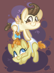 Size: 548x734 | Tagged: safe, artist:steeve, pound cake, pumpkin cake, pegasus, pony, unicorn, baby cakes, abstract background, baby, baby pony, cake twins, colt, cropped, diaper, diapered, diapered colt, diapered filly, diapered foals, female, filly, male, one month old colt, one month old filly, one month old foals, white diapers