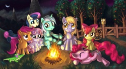 Size: 3087x1704   Tagged: safe, artist:alexmakovsky, apple bloom, bon bon, derpy hooves, gummy, lyra heartstrings, owlowiscious, pinkie pie, scootaloo, sweetie belle, sweetie drops, earth pony, pegasus, pony, unicorn, apple, campfire, cloud, cloudy, cutie mark crusaders, female, filly, fire, lyre, mare, moon, night, pet, photoshop, sleeping, tree, wallpaper