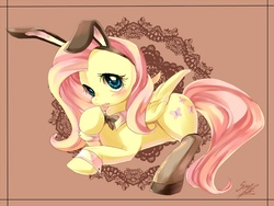 Size: 1000x750 | Tagged: safe, artist:soukitsubasa, fluttershy, pegasus, pony, abstract background, bunny ears, bunny suit, bunnyshy, clothes, costume, cute, female, mare, paint tool sai, shyabetes, solo