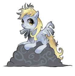 Size: 1114x1127 | Tagged: dead source, safe, artist:suikuzu, derpy hooves, pegasus, pony, the last roundup, adobe imageready, cloud, cute, derpabetes, female, injured, mare, messy mane, prone, simple background, smiling, solo, transparent background