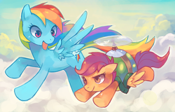 Size: 1686x1078 | Tagged: dead source, safe, artist:suikuzu, rainbow dash, scootaloo, pegasus, pony, adobe imageready, female, filly, flying, helicopter, mare, scootaloo can fly, scootaloo can't fly, sky, tortoise shell