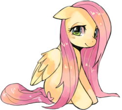 Size: 927x835 | Tagged: dead source, safe, artist:suikuzu, fluttershy, pegasus, pony, adobe imageready, female, floppy ears, mare, simple background, sitting, solo, transparent background, wet mane
