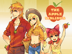 Size: 2742x2043 | Tagged: dead source, safe, artist:suikuzu, apple bloom, applejack, big macintosh, human, abstract background, adobe imageready, apple, apple siblings, apple sisters, belly button, brother and sister, family, female, front knot midriff, high res, human female, human male, humanized, male, midriff, siblings, sisters, trio