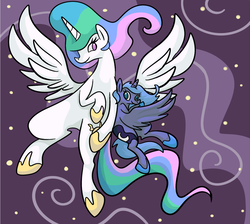 Size: 656x588 | Tagged: alicorn, artist:ponygoggles, female, flying, mare, no pupils, pony, princess celestia, princess luna, s1 luna, safe, size difference