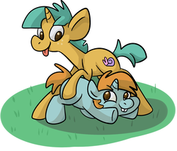 Size: 1411x1204 | Tagged: artist:ponygoggles, colt, duo, male, no pupils, pony, safe, snails, snips, tongue out, unicorn