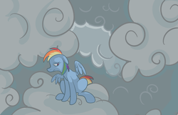 Size: 795x513 | Tagged: artist:ponygoggles, cloud, cloudy, female, floppy ears, mare, pegasus, pony, rainbow dash, sad, safe, sitting, solo
