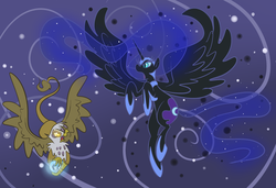 Size: 1992x1363 | Tagged: abstract background, alicorn, artist:ponygoggles, female, flying, gilda, glowing eyes, griffon, mare, nightmare moon, pony, safe, spread wings