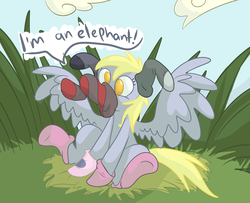 Size: 1982x1611 | Tagged: artist:ponygoggles, clothes, derpy hooves, female, grass, mare, no pupils, pegasus, pony, safe, silly, silly pony, sitting, socks, solo, wardrobe misuse