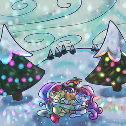 Size: 1000x1000   Tagged: safe, artist:ponygoggles, apple bloom, scootaloo, sweetie belle, earth pony, pegasus, pony, unicorn, christmas, christmas tree, clothes, cutie mark crusaders, female, filly, hat, scarf, sitting, snow, snowfall, tree, trio, trio female, winter