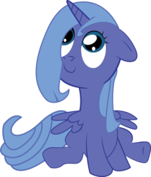 Size: 2274x2656 | Tagged: dead source, safe, artist:xstarmax, princess luna, alicorn, pony, adobe imageready, cute, female, filly, floppy ears, high res, looking up, s1 luna, simple background, sitting, smiling, solo, transparent background, woona, younger