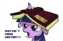 Size: 2026x1323 | Tagged: safe, artist:v-d-k, twilight sparkle, pony, unicorn, angry, annoyed, book, cute, female, floppy ears, frown, glare, grumpy, horn impalement, madorable, mare, open mouth, simple background, solo, text, transparent background, twiabetes, unicorn twilight