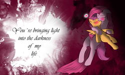 Size: 3845x2318 | Tagged: safe, artist:v-d-k, pinkie pie, scootaloo, earth pony, pegasus, pony, blushing, eyes closed, female, filly, heart, high res, kissing, lesbian, love, making out, mare, mare on filly, photoshop, pinkamena diane pie, quote, scootapie, shipping, wings