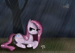 Size: 1067x759 | Tagged: safe, artist:musapan, pinkie pie, earth pony, pony, female, flower, mare, pinkamena diane pie, prone, rain, solo, tree, wet mane