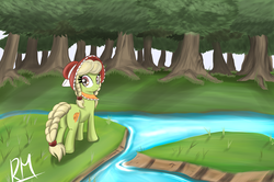 Size: 2252x1491 | Tagged: dead source, safe, artist:reikomuffin, granny smith, earth pony, pony, everfree forest, female, filly, forest, looking back, solo, water, young granny smith, younger