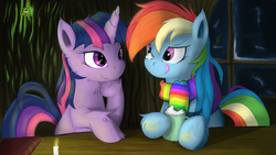 Size: 2621x1476 | Tagged: dead source, safe, artist:grumblepluck, rainbow dash, twilight sparkle, pegasus, pony, unicorn, candle, chest fluff, clothes, cute, dashabetes, female, golden oaks library, hot chocolate, lesbian, library, mare, photoshop, scarf, shipping, twiabetes, twidash, unicorn twilight, wallpaper