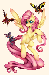 Size: 647x1000 | Tagged: source needed, safe, artist:slugbox, fluttershy, butterfly, kaiju, pegasus, pony, battra, blushing, colored pupils, crossover, cute, derpibooru history, female, flying, godzilla (series), mare, megaguirus, mothra, open mouth, photoshop, shyabetes, signature, simple background, smiling, solo, spread wings, yellow background