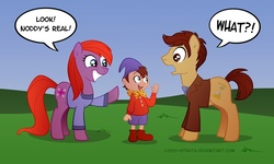 Size: 840x504 | Tagged: safe, artist:lissystrata, doctor whooves, time turner, earth pony, pony, catherine tate, crossover, david tennant, dialogue, doctor who, donna noble, female, male, mare, noddy, photoshop, ponified, signature, stallion, tenth doctor, trio