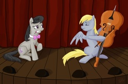 Size: 1114x733 | Tagged: safe, artist:sorcerushorserus, derpy hooves, octavia melody, earth pony, pegasus, pony, bowtie, cello, comedy, duo, duo female, fail, female, mare, music, musical instrument, palindrome get