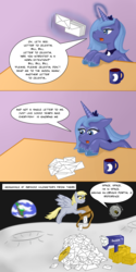 Size: 900x1800 | Tagged: safe, artist:kitsune-the-fox, derpy hooves, princess luna, pegasus, pony, earth, female, mail, mailbox, mailpony, mare, misspelling, moon, s1 luna, space core