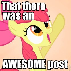 Size: 600x594 | Tagged: safe, apple bloom, image macro, impact font, pointing, reaction image