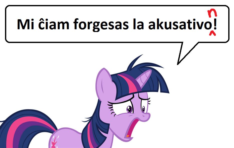 """Twilight Sparkle diras: """"Mi ĉiam forgesas la akusativo"""""""