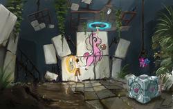 Size: 1704x1080 | Tagged: safe, artist:fiarel, pinkie pie, earth pony, human, pony, chell, companion cube, crossover, portal, portal (valve), portal 2, portal gun, toy