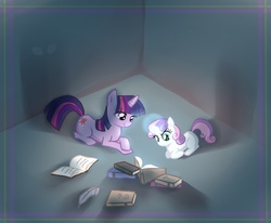 Size: 850x700 | Tagged: safe, artist:author-chan, sweetie belle, twilight sparkle, book, magic