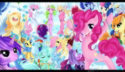 Size: 1112x640 | Tagged: safe, artist:passionatestar, amethyst star, berry punch, berryshine, bon bon, carrot top, daisy, derpy hooves, fluttershy, golden harvest, junebug, lemon hearts, lily, lily valley, lyra heartstrings, minuette, pinkie pie, rainbow dash, shoeshine, sweetie drops, twilight sparkle, twinkleshine, pegasus, pony, balloon, female, mare
