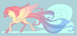 Size: 1300x608 | Tagged: safe, artist:queerly, fluttershy, long mane, long tail, modern art, nouveau, solo, windswept mane
