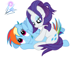 Size: 8000x6000 | Tagged: safe, artist:nightmaremoons, rainbow dash, rarity, absurd resolution, alternate hairstyle, female, lesbian, lip bite, massage, raridash, shipping, simple background, transparent background, vector, wingboner