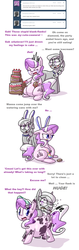 Size: 954x3032 | Tagged: safe, artist:secretgoombaman12345, diamond tiara, silver spoon, ask chubby diamond, ask, bunny ears, cake, fat, tumblr, zap apple jam