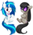 Size: 800x857 | Tagged: safe, artist:miikanism, dj pon-3, octavia melody, vinyl scratch, accessory swap, chibi, crossed arms, cute, deal with it, frown, messy mane, one eye closed, open mouth, simple background, sitting, smiling, transparent background