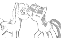 Size: 900x565 | Tagged: safe, artist:johnjoseco, caramel, twilight sparkle, caralight, female, grayscale, imminent kissing, male, monochrome, shipping, straight