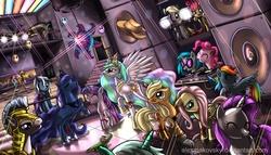 Size: 5000x2857 | Tagged: safe, artist:alexmakovsky, apple bloom, applejack, carrot cake, cup cake, derpy hooves, discord, dj pon-3, fluttershy, gummy, lyra heartstrings, pinkie pie, princess celestia, princess luna, rainbow dash, rarity, rocky, trixie, twilight sparkle, vinyl scratch, alligator, earth pony, pegasus, pony, unicorn, applejack's hat, balloon, cape, clothes, cowboy hat, dancing, disc jockey, disco, disco ball, female, filly, glasses, hat, male, mare, nightclub, party hat, royal guard, stallion, trixie's cape
