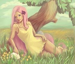 Size: 1000x863   Tagged: safe, artist:aveeshtar, fluttershy, rabbit, clothes, curvy, dress, frilly dress, humanized