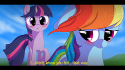 Size: 1280x720 | Tagged: safe, artist:squiby-327, rainbow dash, twilight sparkle, anime, blushing, caption, female, lesbian, shipping, twidash