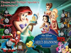 Size: 959x721 | Tagged: applejack, ariel, artist needed, bash and dash, crossover, disney princess, emily, ferdinand, flounder, fluttershy, james the red engine, mane six, mermaid, percy the small engine, pinkie pie, pooh's adventures, rainbow dash, rarity, safe, seashell, the little mermaid, the little mermaid 3: ariel's beginning, thomas the tank engine, toby the tram engine, twilight sparkle, wat